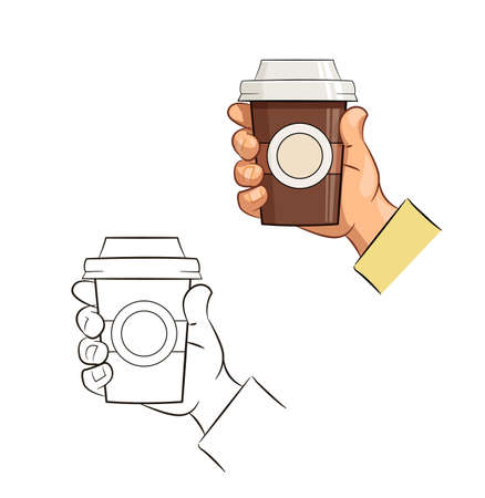 tare: Cup of coffee in hand. Eps10 vector illustration. Isolated on white background