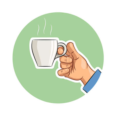 tare: Cup of coffee in hand.  vector illustration. Isolated on white background