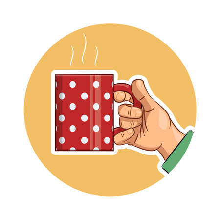 hand holding: Tea cup in hand. Eps10 vector icon illustration. Isolated on white background