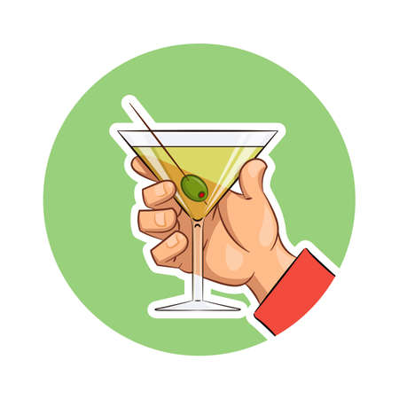 spirituous beverages: Glass of martini with olive in hand. Eps10 vector illustration. Isolated on white background