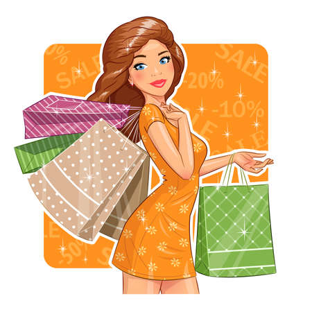 Beautiful girl with packages. Shopping. Ilustracja