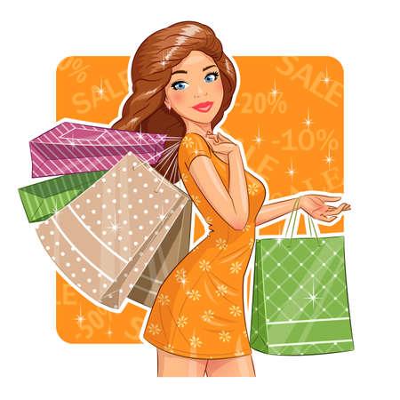 faire les courses: Belle fille avec des paquets. Achats.