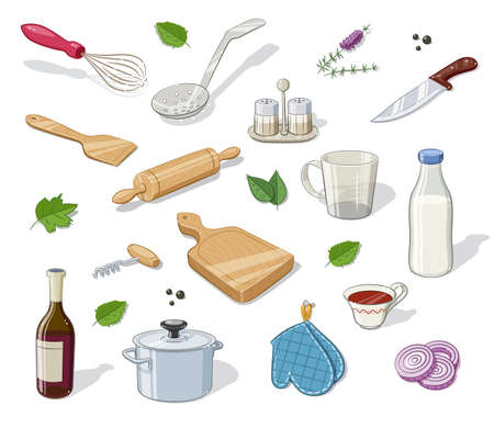 ingestion: Kitchen utensils. Set of  Eps10 vector illustration. Isolated on white background
