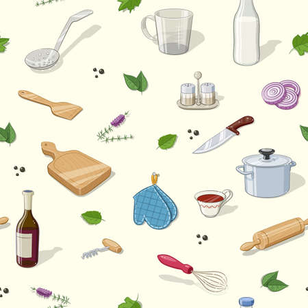 ingestion: Kitchen utensils. Seamless pattern. Eps10 vector illustration. Illustration