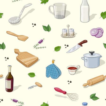 ingestion: Kitchen utensils. Seamless pattern. Eps10 vector illustration. Illustration
