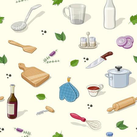 utencilios de cocina: Utensilios de cocina. Patrón sin fisuras. Ilustración vectorial Eps10. Vectores