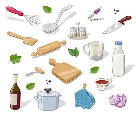 ingestion: Kitchen utensils. Set of  Eps10 vector illustration. Isolated on white background
