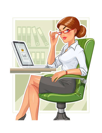 Business woman in armchair with laptop