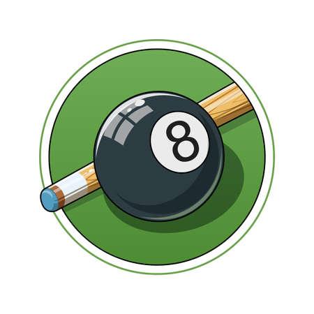 bola ocho: Bola de billar. Ilustración vectorial Eps10. Aislado en el fondo blanco