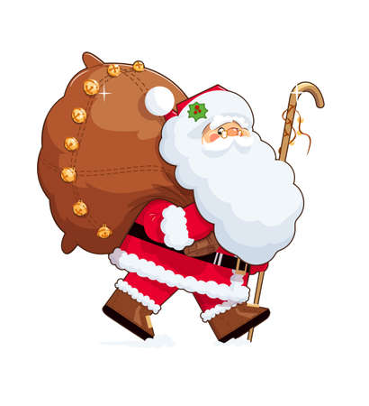 oldman: Santa Claus with gift sack . Eps10 vector illustration. Isolated on white background