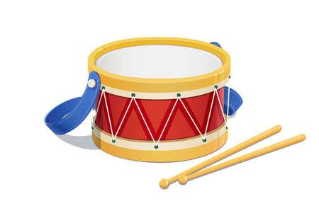 jugetes: Tambor. Instrumento musical. Ilustraci�n vectorial Eps10. Aislado en el fondo blanco Vectores