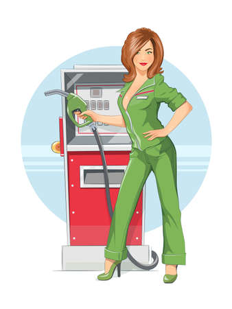 fuelling pump: Beautiful girl on. Eps10 vector illustration. Isolated on white background