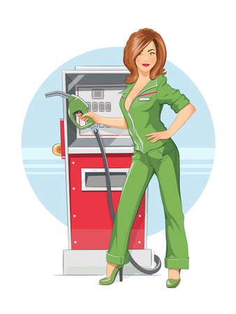 Beautiful girl on. Eps10 vector illustration. Isolated on white background