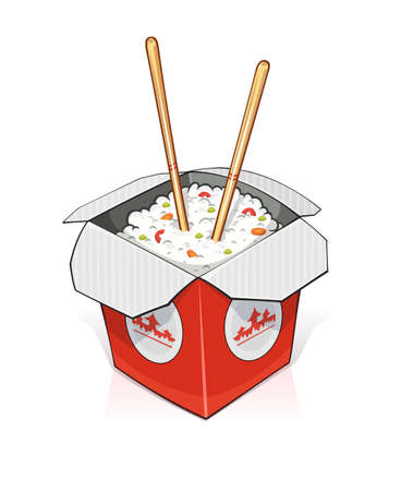 lunch: Fast food. Rice in paper container. vector illustration. Isolated on white background