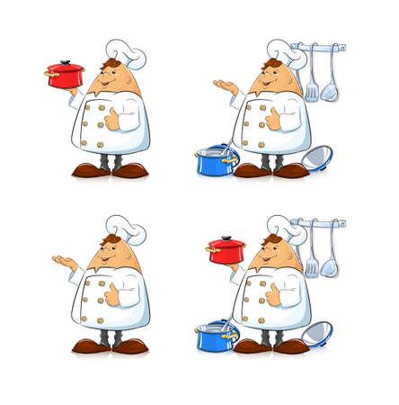 cocina caricatura: Cocinar con la cacerola y vajilla. Ilustraci�n vectorial eps8. Aislado en el fondo blanco Vectores