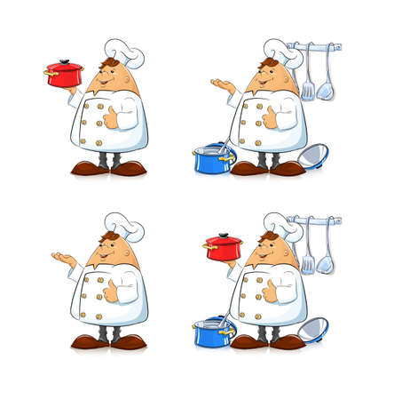 eps8: Cook with pan and tableware. Eps8 vector illustration. Isolated on white background