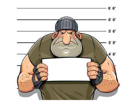 Angry criminal man. Eps10 vector illustration. Isolated on white background