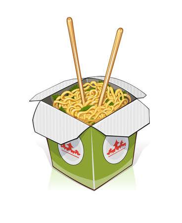 Comida rápida. Fideos chinos en sacar contenedor. ilustración vectorial. Aislado en el fondo blanco Ilustración de vector