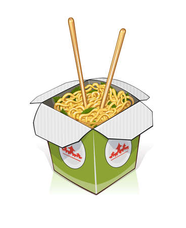 Fast food. Chinese noodles in take out container. vector illustration. Isolated on white background