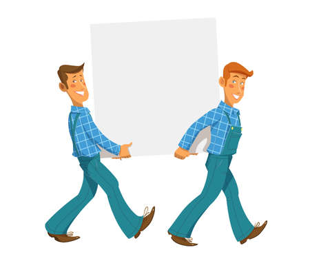 bearing: Two mans carry empty plate. Eps10 vector illustration. Isolated on white background