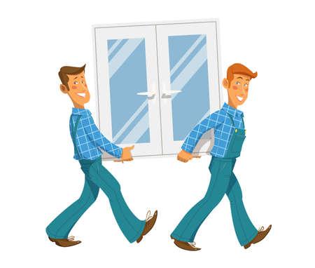 Deux mans portent fenêtre. Eps10 illustration vectorielle. Isolé sur fond blanc Vecteurs
