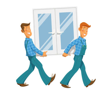 Two mans carry window. Eps10 vector illustration. Isolated on white background
