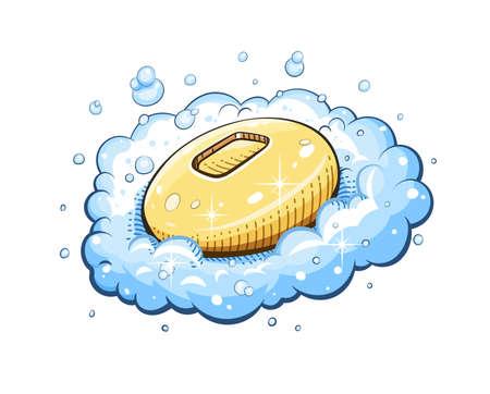 Soap in foam. Eps10 vector illustration. Isolated on white background Stock Illustratie