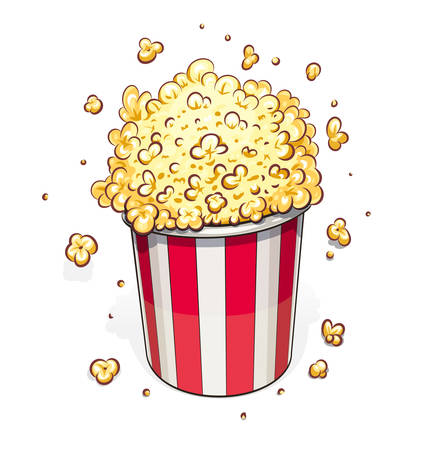 Popcorn in striped basket. Eps10 vector illustration. Isolated on white background  イラスト・ベクター素材