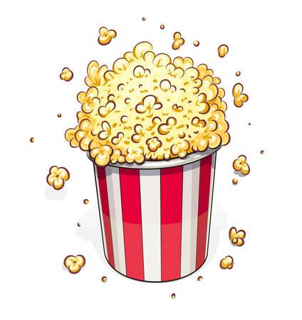 Popcorn in striped basket. Eps10 vector illustration. Isolated on white background Vettoriali