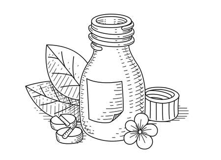 tare: Jar with pill.illustration. Isolated on white background Illustration