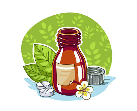 therapeutic: Jar with pill.  illustration. Isolated on white background Illustration