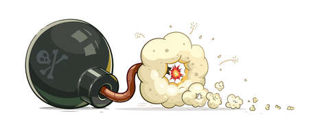 blow up: Bomb with burn fuse. Illustration