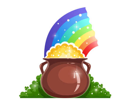 Kettle with gold and rainbow for saint patrick day.  Isolated on white background Illustration