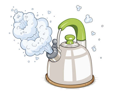 Kettle boil.  Isolated on white background Illustration