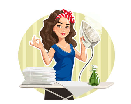 damsel: Beautiful girl press linen. Isolated on white background Illustration