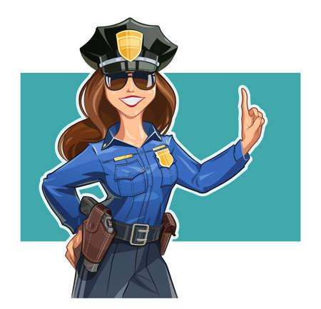 美しい少女の制服の警官。白い背景に分離  イラスト・ベクター素材