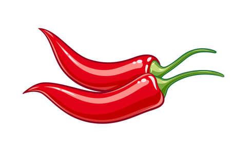 Paar rote Chilischote Vektor-Illustration, Eps10 Isolierte weißem Hintergrund Vektorgrafik