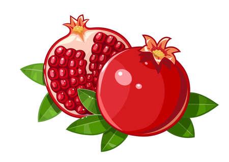 Couple juicy ripe pomegranate fruit stylized leaf illustration Isolated white background