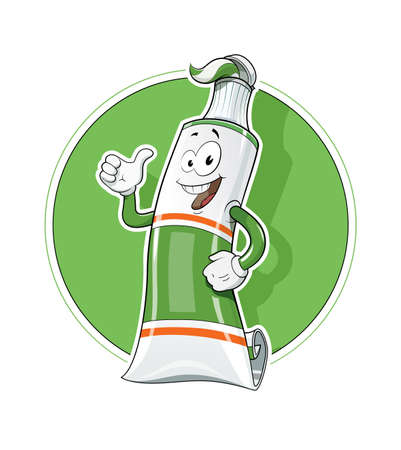 cleanness: Cartoon Tooth Pasta tube show okay illustration, Isolated white background.  Smiling Tooth Pasta. Tooth Pasta for Protect teeth. Dental fresh Tooth Pasta. Cleanness tooth.