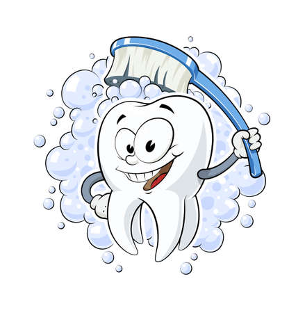 dentures: Healthy tooth with dental brush illustration Illustration
