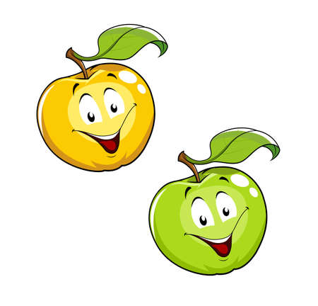 vermilion: Cartoon Ripe fresh apple with leaf