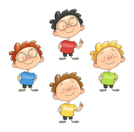personages: Cartoon smiling boy illustration Illustration