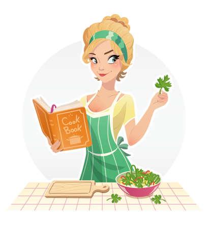 cartoon kitchen: Hermosa chica cocinar los alimentos con el libro de cocina. Ilustración del vector, fondo blanco aislado. El ama de casa que cocina en kithen. Mujer que cocina la comida. La mujer del cocinero.