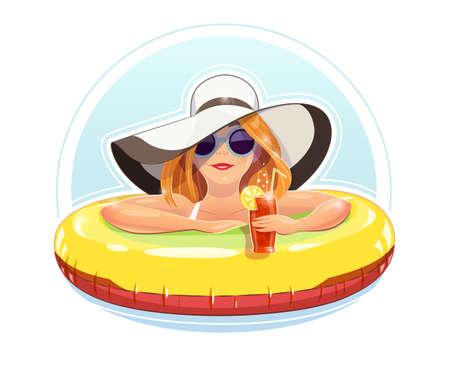 nadada de la muchacha hermosa con el círculo de goma. ilustración vectorial, eps10 fondo blanco aislado. Vacaciones de verano. Mujer nadar y relajarse. Coctel de la bebida de la muchacha Ilustración de vector