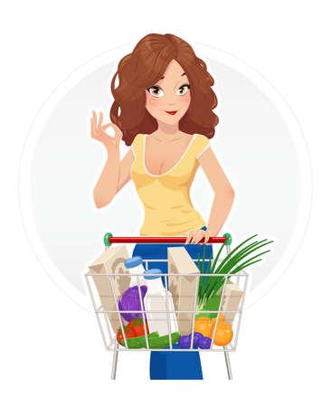 mujer en el supermercado: Compras. hermosa niña con carrito de compras. Ilustración del vector, fondo blanco aislado. Carrito de compras. Mujer en taller. Señora en el mercado. Supermercado. Productos alimenticios. Compras en el supermercado.