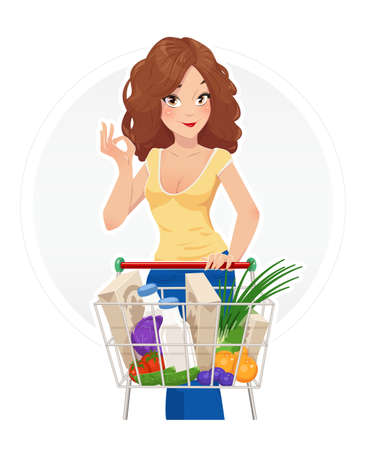 foodstuff: Shopping. Beautiful girl with shopping cart. Vector illustration, Isolated white background. Shopping trolley. Woman in shop. Lady in market. Supermarket. Foodstuff. Shopping in Supermarket.