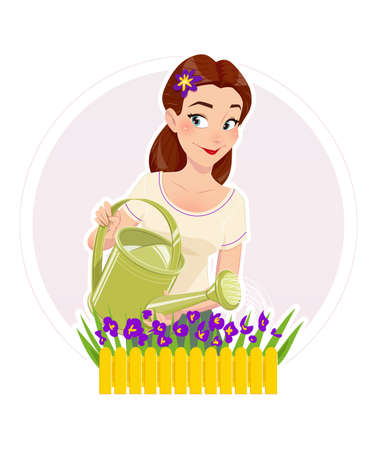 flower blooming: Gardening. Beautiful girl watering flower. Vector illustration, Isolated white background. Housewife watering flower. Woman with watering can. Gardening hobbies. Blooming flowers. Watering .