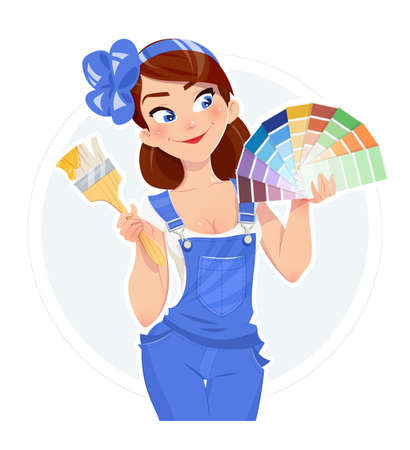 Beautiful girl with paint brush and color swatches. Vector illustration. Woman painter. Lady in overalls. Builder in uniform. Cartoon character. Stock Illustratie