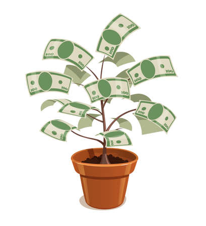 bank note: Money Tree with dollars in pot. Vector illustration. Plant with bank note. Savings finances.