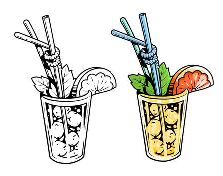 craving: Cocktail. Lemonade with mint and grapefruit. Vector illustration. Freshness beverage. Lemons fresh. Illustration